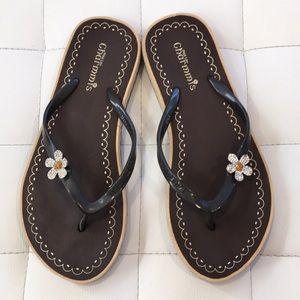 Shoes - Flower Studded Flip Flops
